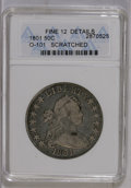 Early Half Dollars: , 1801 50C --Scratched--ANACS. Fine 12 Details. O-101. NGC Census:(13/163). PCGS Population (13/125). Mintage: 30,289. Numism...