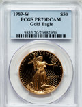 Modern Bullion Coins: , 1989-W G$50 One-Ounce Gold Eagle PR70 Deep Cameo PCGS. PCGSPopulation (299). NGC Census: (762). Mintage: 54,570. Numismedi...