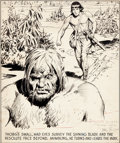 Original Comic Art:Panel Pages, Hal Foster Prince Valiant Thorg Comic Strip Panel OriginalArt (King Features Syndicate, c. 1937)....