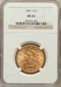 Liberty Eagles, 1899 $10 MS65 NGC....