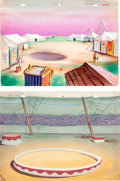 Animation Art:Production Drawing, At the Circus Mighty Mouse Production Background PaintingGroup (Terrytoons, 1944).... (Total: 2 Items)