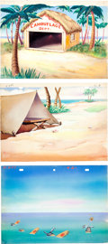 Animation Art:Production Drawing, Camouflage Gandy Goose Production Background Painting Group(Terrytoons, 1943).... (Total: 3 Items)
