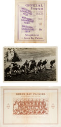 Football Collectibles:Others, 1932 Green Bay Packers Memorabilia Lot of 3....