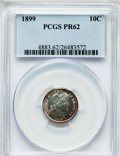 Proof Barber Dimes: , 1899 10C PR62 PCGS. PCGS Population (32/189). NGC Census: (8/170).Mintage: 846. Numismedia Wsl. Price for problem free NGC...