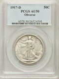 Walking Liberty Half Dollars: , 1917-D 50C Obverse AU50 PCGS. PCGS Population (30/905). NGC Census:(6/727). Mintage: 765,400. Numismedia Wsl. Price for pr...