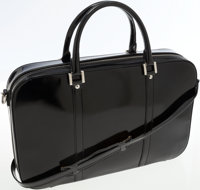 Gucci Black Patent Leather Briefcase with Shoulder Strap Bag