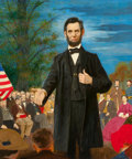 Mainstream Illustration, MARY MAYO (American, 1924-1985). President Abraham LincolnGiving a Speech. Acrylic on board. 24 x 20 in.. Signed lower...