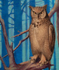 Mainstream Illustration, WILL H. RAPP (American, Early 20th Century). Portrait of anOwl. Oil on board. 19.25 x 16 in.. Signed lower right. ...