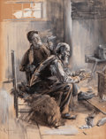 Mainstream Illustration, BENJAMIN WEST CLINEDINST (American, 1859-1931). Two Older MenBefore a Hearth, 1904. Watercolor and gouache on paper. 16...