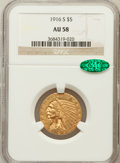 Indian Half Eagles: , 1916-S $5 AU58 NGC. CAC. NGC Census: (605/945). PCGS Population(211/778). Mintage: 240,000. Numismedia Wsl. Price for prob...