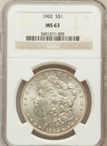 Morgan Dollars: , 1902 $1 MS63 NGC. NGC Census: (1069/3428). PCGS Population(1610/4494). Mintage: 7,994,777. Numismedia Wsl. Price for probl...