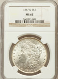 Morgan Dollars: , 1887-O $1 MS62 NGC. NGC Census: (1384/6073). PCGS Population(1824/6387). Mintage: 11,550,000. Numismedia Wsl. Price for pr...