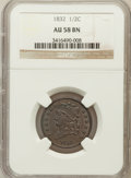 Half Cents: , 1832 1/2 C AU58 NGC. NGC Census: (61/136). PCGS Population(45/116). Mintage: 154,000. Numismedia Wsl. Price for problem fr...