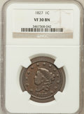 Large Cents: , 1827 1C VF30 NGC. NGC Census: (5/134). PCGS Population (22/142).Mintage: 2,357,732. Numismedia Wsl. Price for problem free...