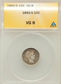 Barber Dimes: , 1892-S 10C VG8 ANACS. NGC Census: (1/127). PCGS Population (2/169).Mintage: 990,710. Numismedia Wsl. Price for problem fre...