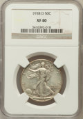 Walking Liberty Half Dollars: , 1938-D 50C XF40 NGC. NGC Census: (97/1323). PCGS Population(161/2692). Mintage: 491,600. Numismedia Wsl. Price for problem...