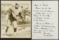 Baseball Collectibles:Others, Waite Hoyt Signed Handwritten Letter and Photograph....