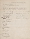 Autographs:Others, 1915 Boston Red Sox Team Signed Sheet with Babe Ruth....