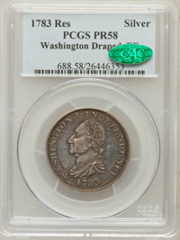 1783 1C Washington & Independence Cent, Draped Bust, No Button, Silver Restrike PR58 PCGS. CAC. Baker-3A, W-10380, R...