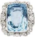 Estate Jewelry:Rings, Edwardian Aquamarine, Diamond, Platinum Ring. ...