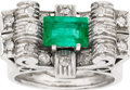 Estate Jewelry:Rings, AN ART DECO EMERALD, DIAMOND, PLATINUM RING. The ring features anemerald-cut emerald measuring 8.80 x 6.15 x 4.30 mm and we...