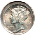Errors, 1921 10C Mercury Dime -- Uncentered Broadstrike -- AU55 PCGS....