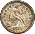Errors, 1856 10C Large Date Seated Dime -- Broadstruck out of Collar --AU55 PCGS....
