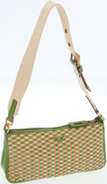 Luxury Accessories:Bags, Prada Green and Beige Leather Intreccio Cube Shoulder Bag. ...