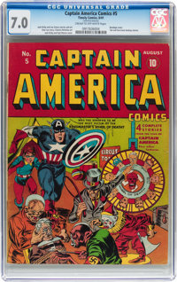 Captain America Comics #5 (Timely, 1941) CGC FN/VF 7.0 Cream to off-white pages