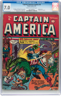 Captain America Comics #6 (Timely, 1941) CGC FN/VF 7.0 Cream to off-white pages