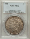 Morgan Dollars: , 1901 $1 AU53 PCGS. PCGS Population (506/2286). NGC Census:(470/2721). Mintage: 6,962,813. Numismedia Wsl. Price for proble...