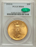 Saint-Gaudens Double Eagles: , 1915-S $20 MS64 PCGS. CAC. PCGS Population (4167/2122). NGC Census:(5525/1771). Mintage: 567,500. Numismedia Wsl. Price fo...