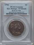 Large Cents, 1794 1C Head of 1794 -- Environmental Damage -- PCGS Genuine. VFDetails. S-31, B-13, R.1....
