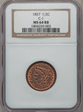 Half Cents, 1857 1/2 C MS64 Red and Brown NGC. C-1, B-1, R.2....