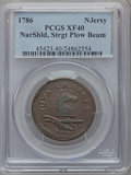 Colonials, 1786 NJERSY New Jersey Copper, Narrow Shield, Straight Plow BeamXF40 PCGS. M. 17-b, W-4870, R.3....
