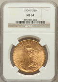 Saint-Gaudens Double Eagles: , 1909-S $20 MS64 NGC. NGC Census: (1372/232). PCGS Population(1806/303). Mintage: 2,774,925. Numismedia Wsl. Price for prob...