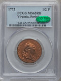 Colonials, 1773 1/2P Virginia Halfpenny, Period MS65 Red and Brown PCGS. CAC.N. 27-J, W-1585, R.2....