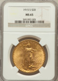 Saint-Gaudens Double Eagles: , 1915-S $20 MS65 NGC. NGC Census: (1613/152). PCGS Population(1951/189). Mintage: 567,500. Numismedia Wsl. Price for proble...