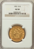 Liberty Eagles: , 1853 $10 AU58 NGC. NGC Census: (181/38). PCGS Population (29/24).Mintage: 201,253. Numismedia Wsl. Price for problem free ...