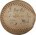 Baseball Collectibles:Balls, Dolly Stark Single Signed Baseball....