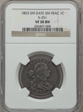 Large Cents, 1803 1C Small Date, Small Fraction VF30 NGC. S-251, B-8, R.2....