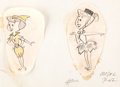animation art:Model Sheet, The Flintstones Wilma and Betty Model Original Art Drawings(Hanna-Barbera, 1961)....