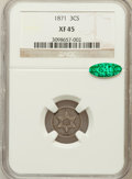 Three Cent Silver: , 1871 3CS XF45 NGC. CAC. NGC Census: (2/132). PCGS Population(3/94). Mintage: 3,400. Numismedia Wsl. Price for problem free...