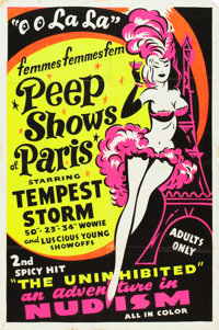 "The French Peep Show and The Uninhibited Combo (Unknown, 1954). Poster (28"" X 41.5"") Day-Glo Style. Alternate..."