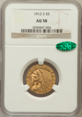 Indian Half Eagles: , 1912-S $5 AU58 NGC. CAC. NGC Census: (537/238). PCGS Population(134/169). Mintage: 392,000. Numismedia Wsl. Price for prob...