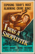 "Movie Posters:Crime, I Was a Shoplifter (Universal, 1950). One Sheet (27"" X 41"").Crime.. ..."