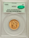 Liberty Half Eagles: , 1885 $5 MS63 PCGS. CAC. PCGS Population (220/69). NGC Census:(246/131). Mintage: 601,400. Numismedia Wsl. Price for proble...
