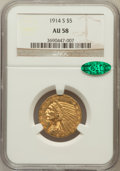 Indian Half Eagles: , 1914-S $5 AU58 NGC. CAC. NGC Census: (538/523). PCGS Population(213/440). Mintage: 263,000. Numismedia Wsl. Price for prob...