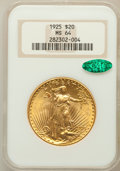 Saint-Gaudens Double Eagles: , 1925 $20 MS64 NGC. CAC. NGC Census: (15376/4712). PCGS Population(12636/6800). Mintage: 2,831,750. Numismedia Wsl. Price f...