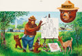 Mainstream Illustration, RICHARD BLACK (American, 20th Century). Smokey Bear's TeachingLesson to the Animals. Gouache on board. 14.5 x 27 in. (i...